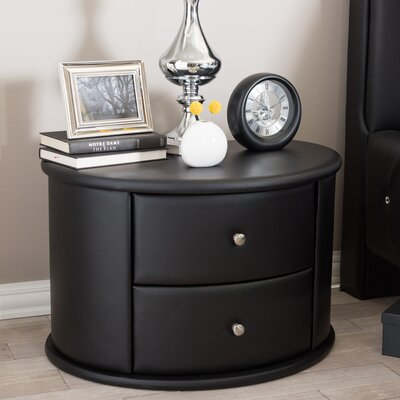 Kleio 2 Drawer Nightstand Color: Black