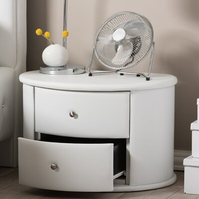 Kleio 2 Drawer Nightstand Color: White