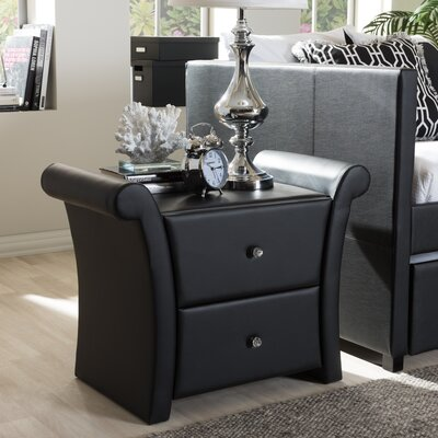 Genoa 2 Drawer Nightstand Color: Black