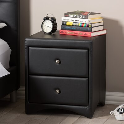Galyean 2 Drawer Nightstand Color: Black