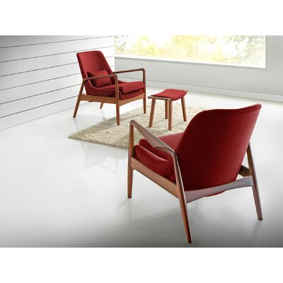 Ellen Mid-Century Modern Upholstered Leisure Arm Chair Upholstery: Red