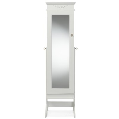 Keele Jewelry Armoire with Mirror Color: White