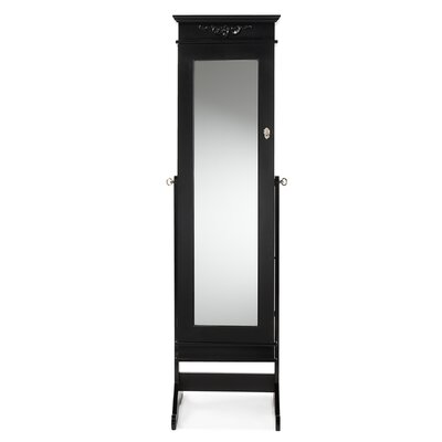 Keele Jewelry Armoire with Mirror Finish: Black