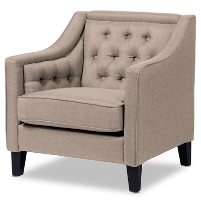 Alberty Classic Retro Upholstered Armchair Color: Beige