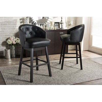 Chaim 30.62 Swivel Bar Stool Upholstery: Black