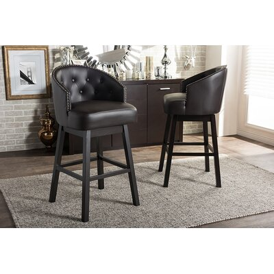 Chaim 30.62 Swivel Bar Stool Upholstery: Brown