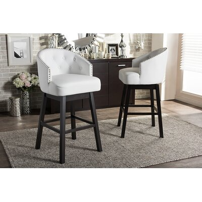 Chaim 30.62 Swivel Bar Stool Upholstery: White