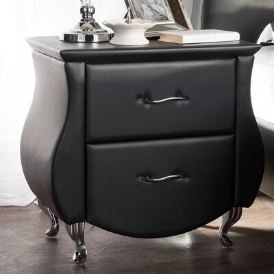 Alfano 2 Drawer Nightstand Finish: Black