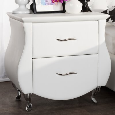 Alfano 2 Drawer Nightstand Color: White