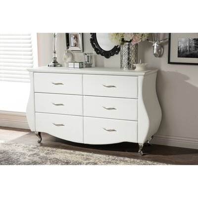 Hill 6 Drawer Dresser Finish: White