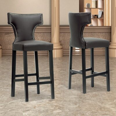 Aguinaldo 30.87 inch Bar Stool Upholstery: Brown
