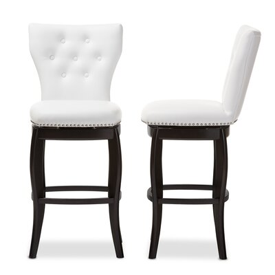 Aguilar 30.42 Swivel Bar Stool Upholstery: White