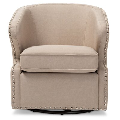 Microscopium Upholstered Swivel Wingback Arm Chair Color: Beige