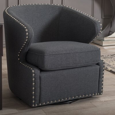 Microscopium Upholstered Swivel Wing back Barrel Chair Color: Gray