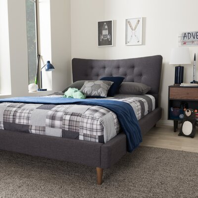 Mizuno Upholstered Platform Bed Upholstery: Dark Grey, Size: King
