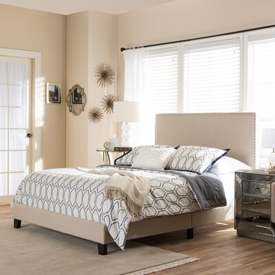 Minos Queen Upholstered Panel Bed Finish: Beige