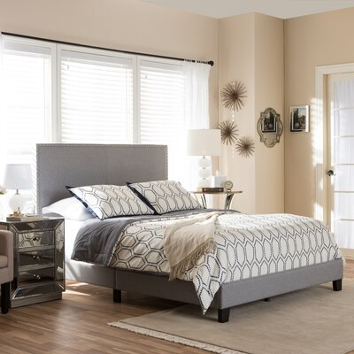 Minos Queen Upholstered Panel Bed Color: Gray