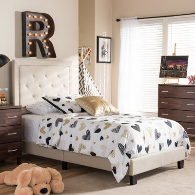 Crader Twin Upholstered Panel Bed Color: Beige