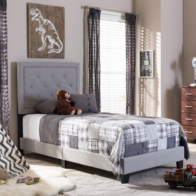 Albro Twin Upholstered Panel Bed Finish: Gray