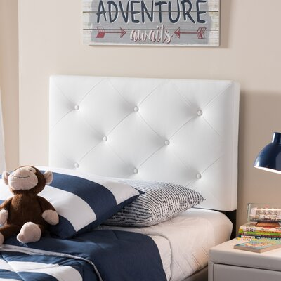 Ray Twin Upholstered Panel Headboard Upholstery: White