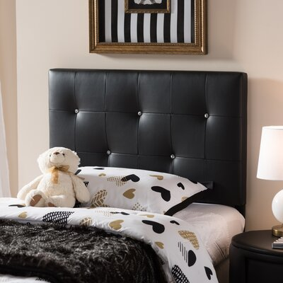 Mason Twin Panel Headboard Upholstery: Black