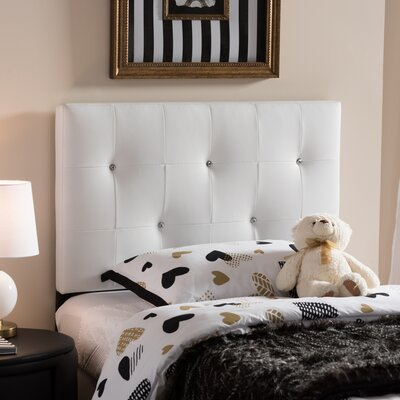 Mason Twin Panel Headboard Upholstery: White