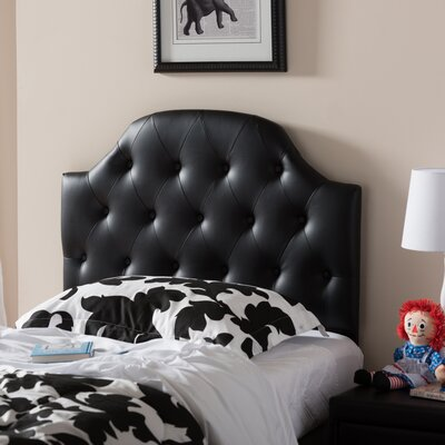 Cragin Twin Upholstered Panel Headboard Upholstery: Black