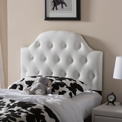 Cragin Twin Upholstered Panel Headboard Upholstery: White