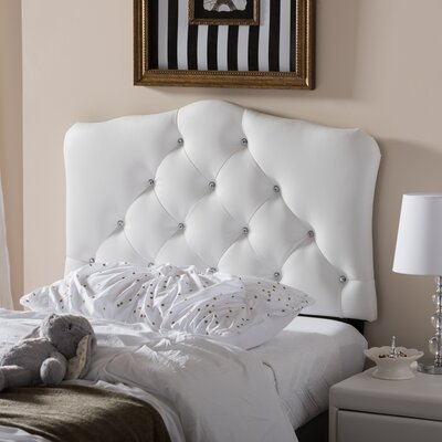 Olivia Twin Upholstered Panel Headboard Upholstery: White