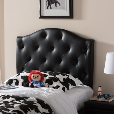 Alberts Twin Upholstered Panel Headboard Upholstery: Black