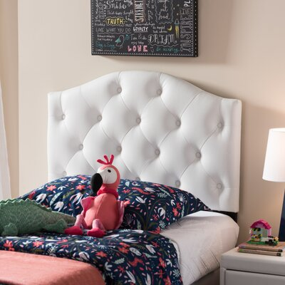 Doyal Twin Upholstered Panel Headboard Upholstery: White