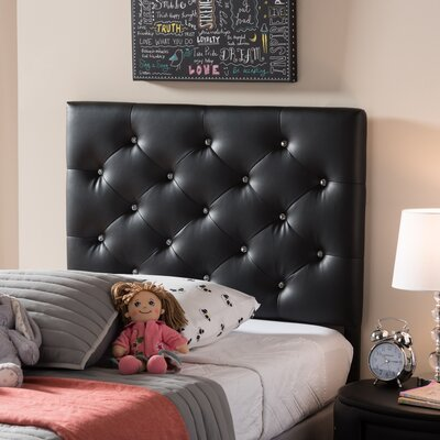 Lindeman Twin Upholstered Panel Headboard Upholstery: Black