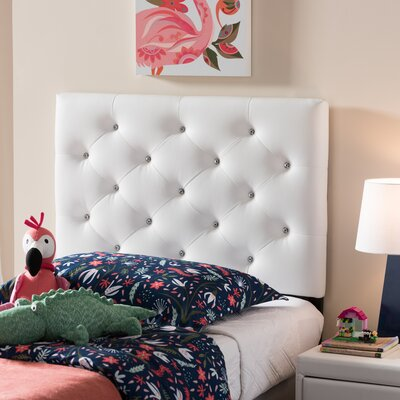 Lindeman Twin Upholstered Panel Headboard Upholstery: White