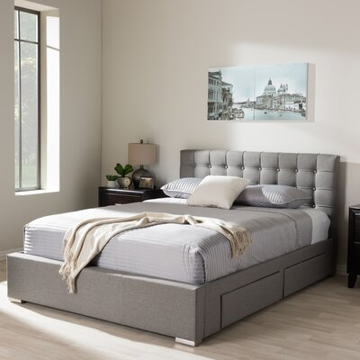 Myrrine Upholstered Storage Platform Bed Size: King, Color: Grey