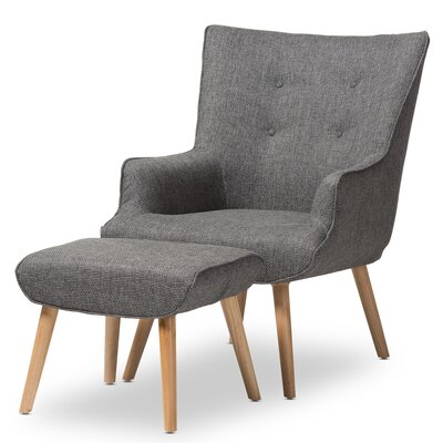 Manuel Wingback Chair and Ottoman Finish: Grey