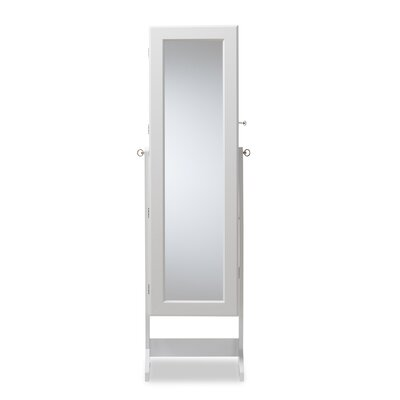 Persei Wood Jewelry Armoire with Mirror Finish: White