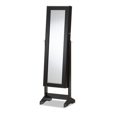 Persei Wood Jewelry Armoire with Mirror Color: Black