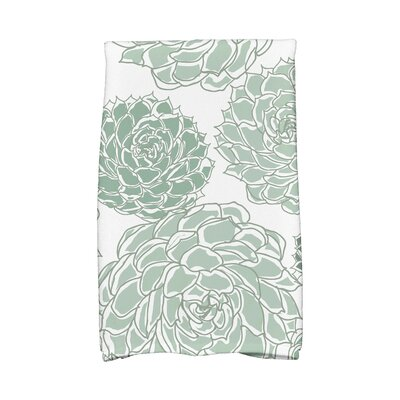 Flower Cotton Hand Towel Color: Green
