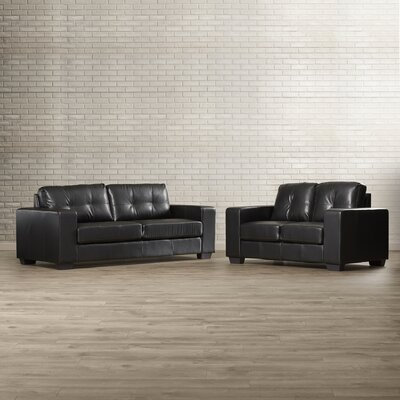 Hambrook Sofa and Loveseat Set Upholstery: Black Leather