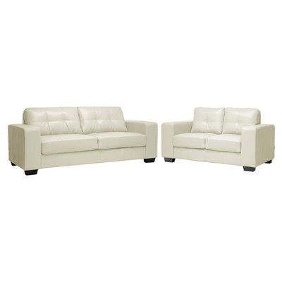 Hambrook 2 Piece Living Room Set Upholstery: Ivory Leather