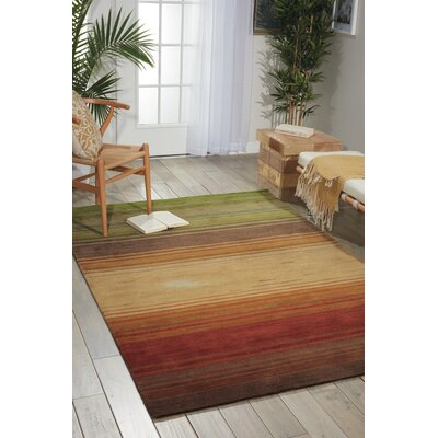 Gemini Hand-Tufted Green/Beige/Red Area Rug Rug Size: 73 x 93