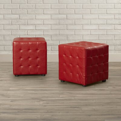 Richlands Cube Ottoman Upholstery: Red