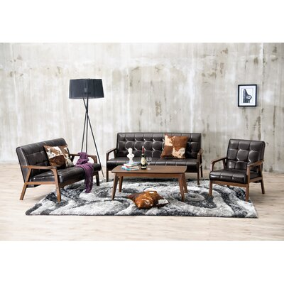 Calla 3 Piece Living Room Set Upholstery: Brown