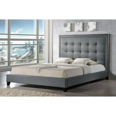 Tasha Upholstered Platform Bed Size: Queen, Color: Grey
