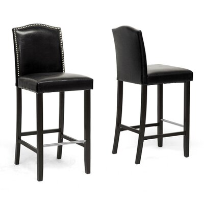 Cliffcrest 30.5 inch Bar Stool with Cushion Upholstery: Black