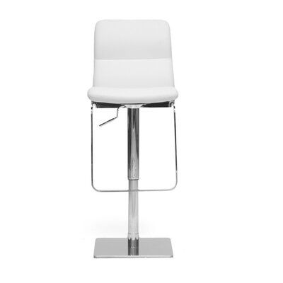 Calla Adjustable Height Swivel Bar Stool Upholstery: White