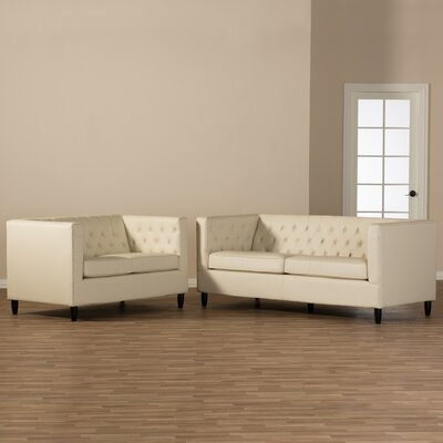 Mcgowen Leather 2 Piece Living Room Set
