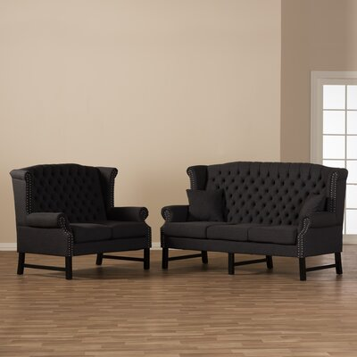 Calla 2 Piece Living Room Set Upholstery: Dark Gray