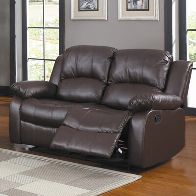 Iris Reclining Loveseat Upholstery: Brown