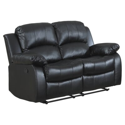 Iris Reclining Loveseat Upholstery: Black
